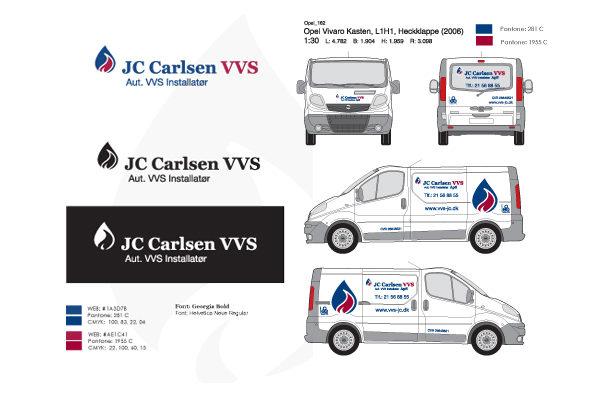Logo og bilreklame til JC Carlsen VVS