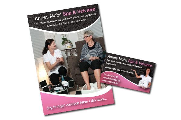 8 siders A5 folder og visitkort til Annes Mobil Spa